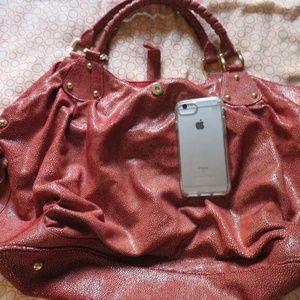 Halston Heritage Red Faux Snakeskin Bag